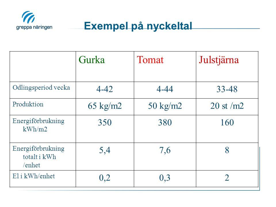 Exempel på nyckeltal Gurka Tomat Julstjärna 4-42 4-44 33-48 65 kg/m2