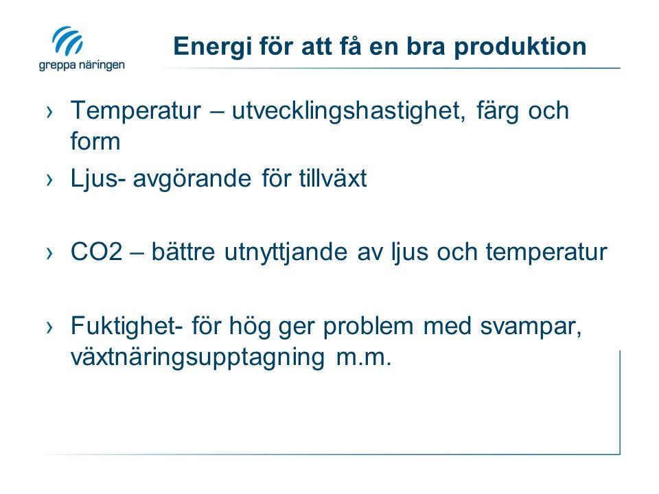 Energi för att få en bra produktion