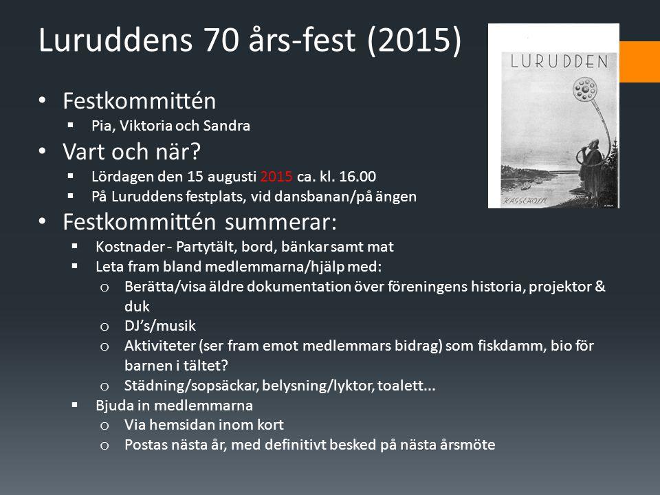 Luruddens 70 års-fest (2015) Festkommittén Vart och när