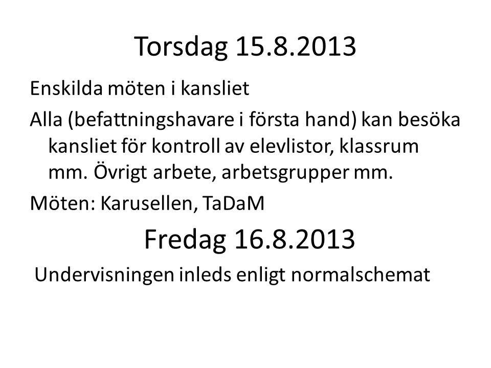 Torsdag 15.8.2013