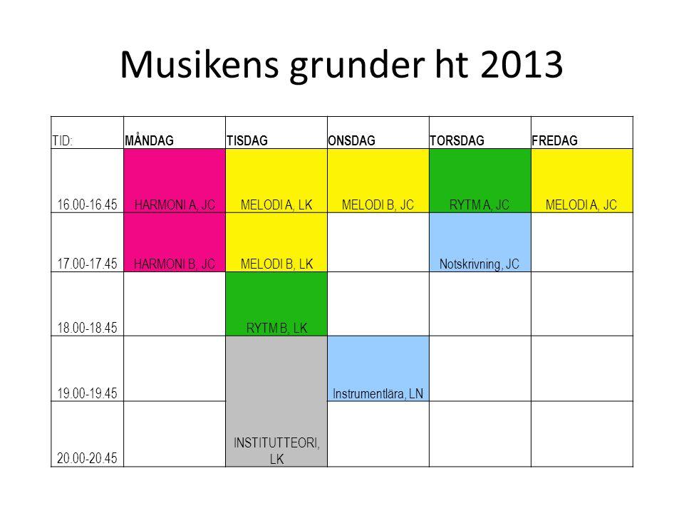 Musikens grunder ht 2013 TID: MÅNDAG TISDAG ONSDAG TORSDAG FREDAG