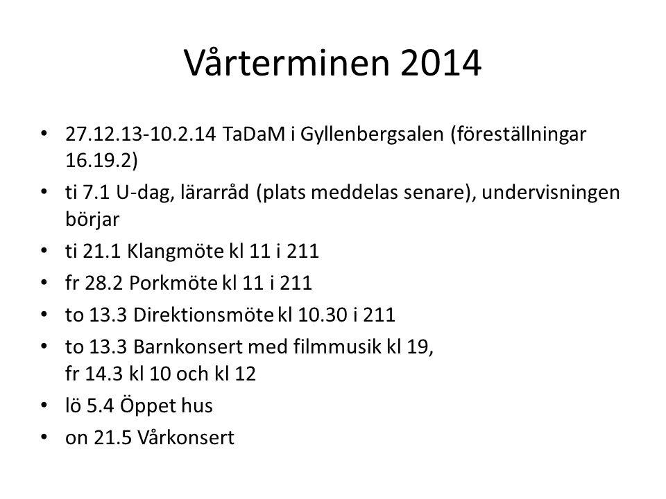 Vårterminen 2014 27.12.13-10.2.14 TaDaM i Gyllenbergsalen (föreställningar 16.19.2)