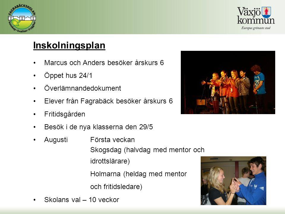 Inskolningsplan Marcus och Anders besöker årskurs 6 Öppet hus 24/1
