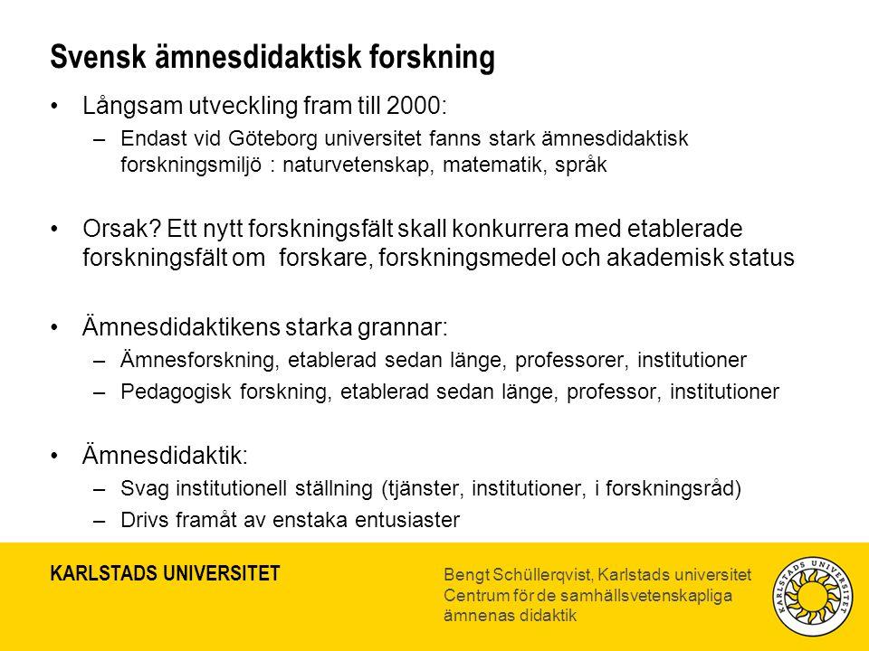 Svensk ämnesdidaktisk forskning