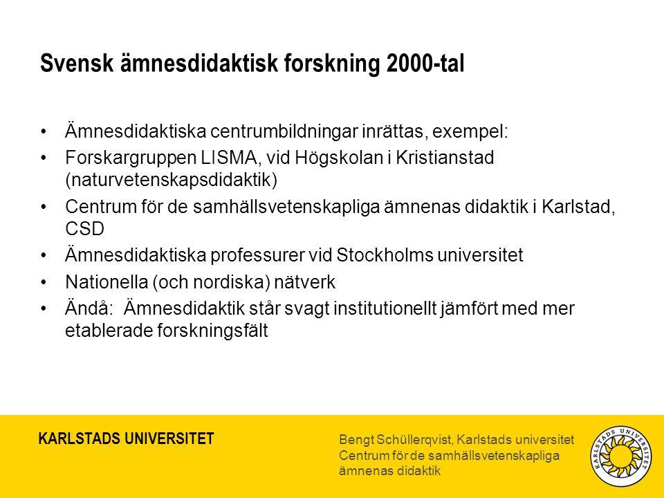 Svensk ämnesdidaktisk forskning 2000-tal