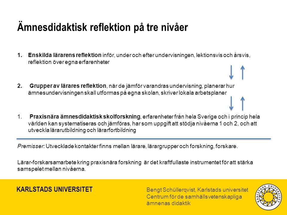 Ämnesdidaktisk reflektion på tre nivåer
