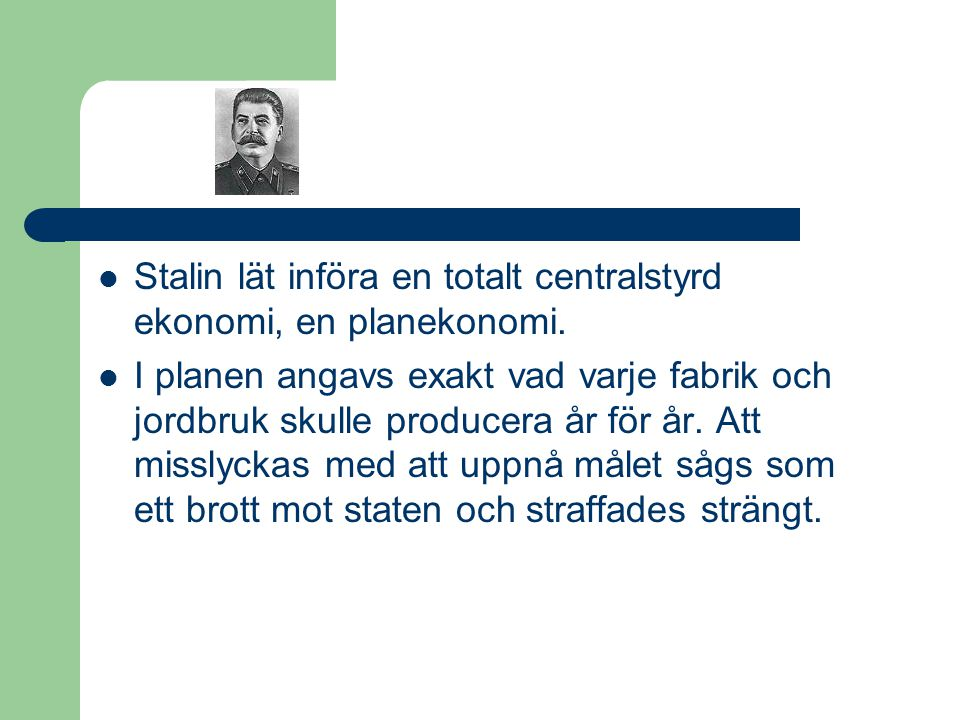 Stalin lät införa en totalt centralstyrd ekonomi, en planekonomi.
