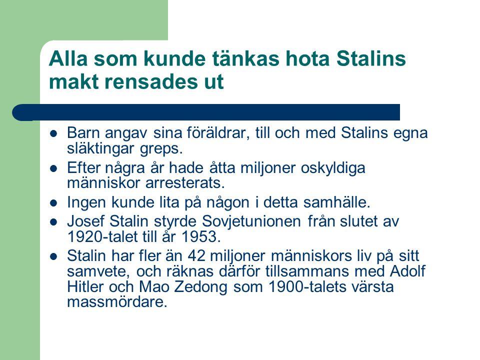 Alla som kunde tänkas hota Stalins makt rensades ut