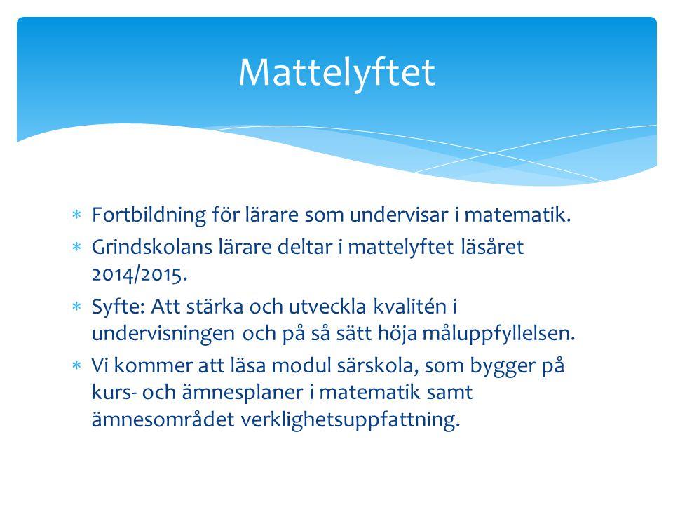 Mattelyftet Fortbildning för lärare som undervisar i matematik.