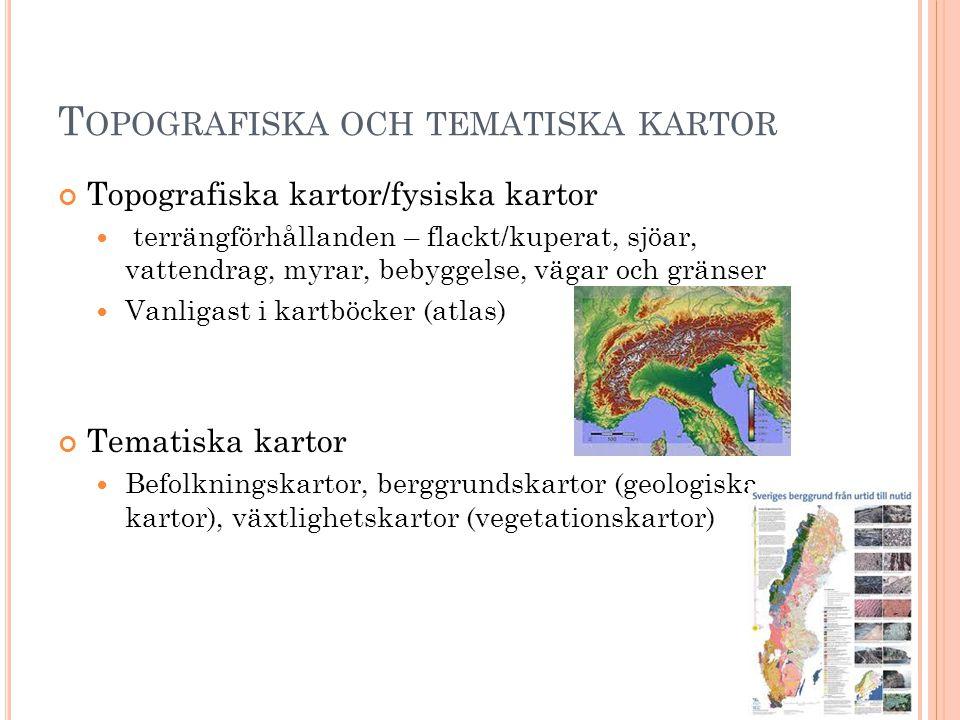 Topografiska och tematiska kartor