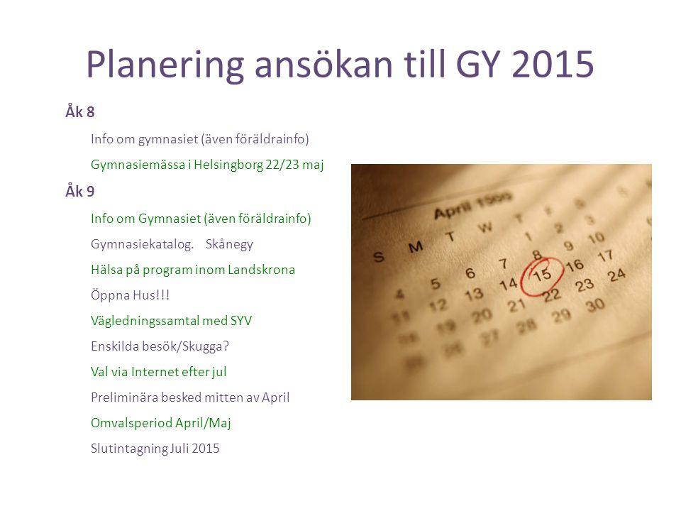 Planering ansökan till GY 2015