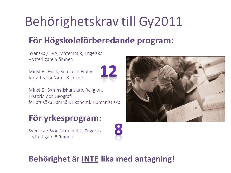 Behörighetskrav till Gy2011