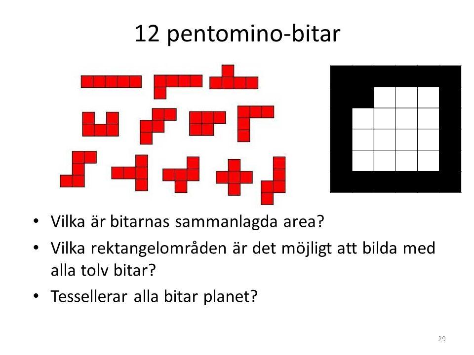 12 pentomino-bitar Vilka är bitarnas sammanlagda area