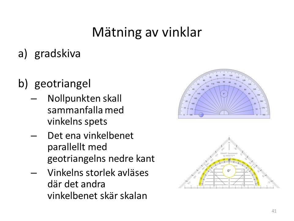 Mätning av vinklar gradskiva geotriangel