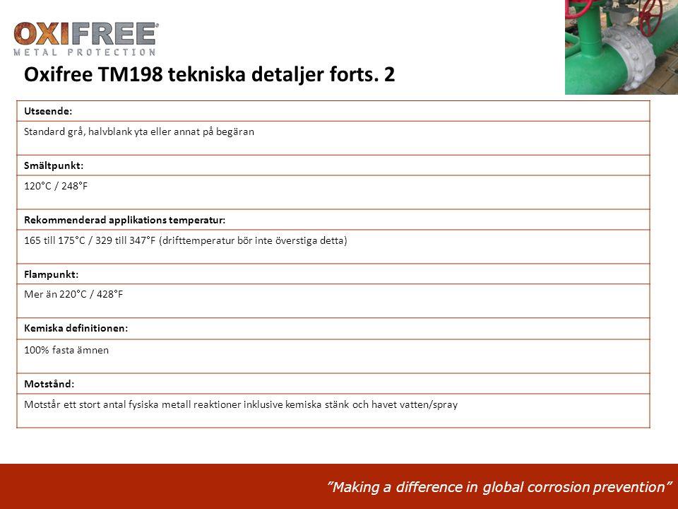 Oxifree TM198 tekniska detaljer forts. 2