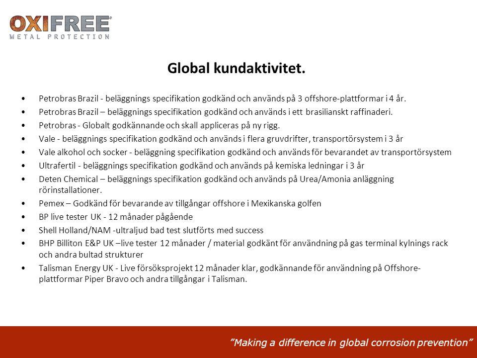 Global kundaktivitet. Petrobras Brazil - beläggnings specifikation godkänd och används på 3 offshore-plattformar i 4 år.