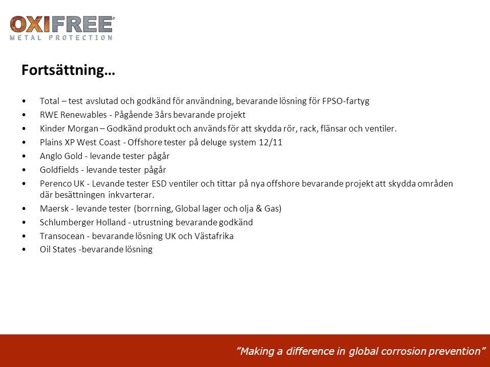 Fortsättning… Total – test avslutad och godkänd för användning, bevarande lösning för FPSO-fartyg. RWE Renewables - Pågående 3års bevarande projekt.