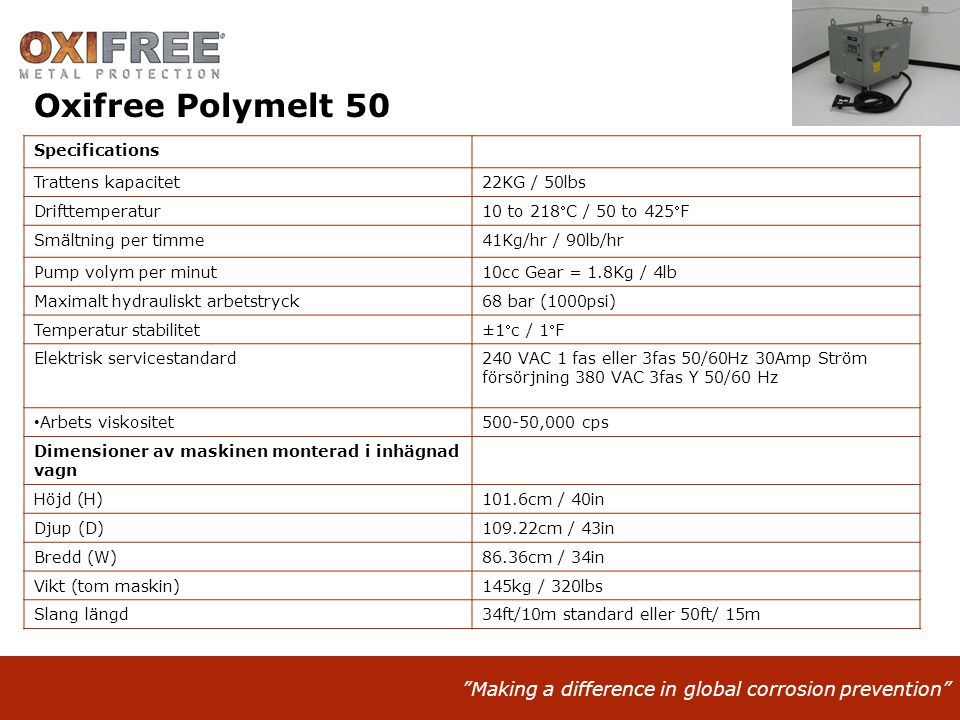 Oxifree Polymelt 50 Specifications Trattens kapacitet 22KG / 50lbs