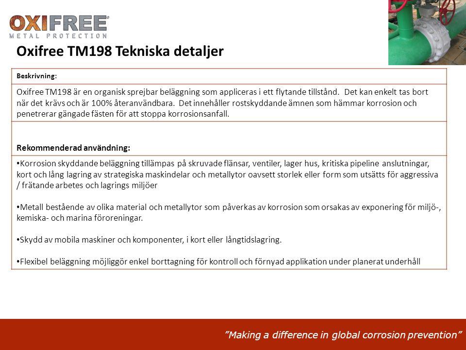 Oxifree TM198 Tekniska detaljer