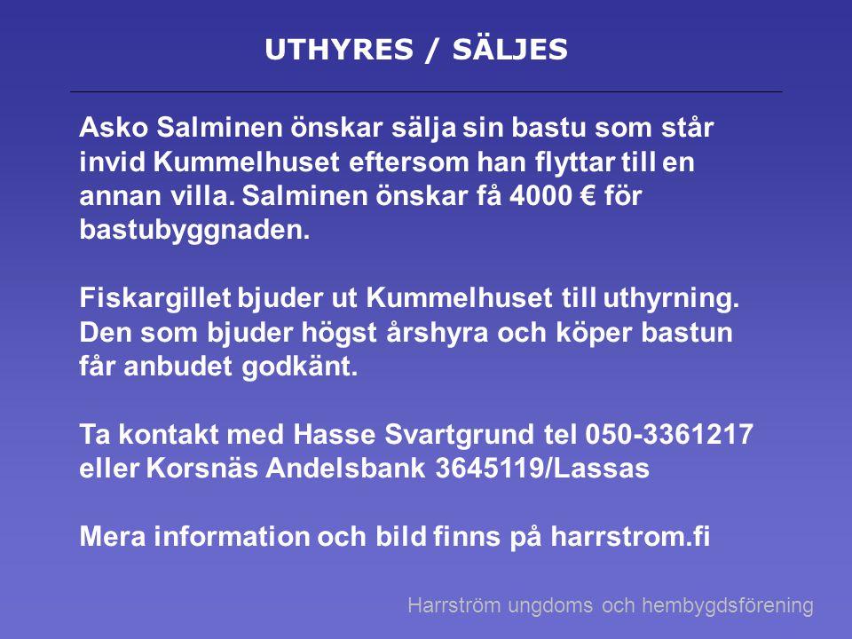 Mera information och bild finns på harrstrom.fi