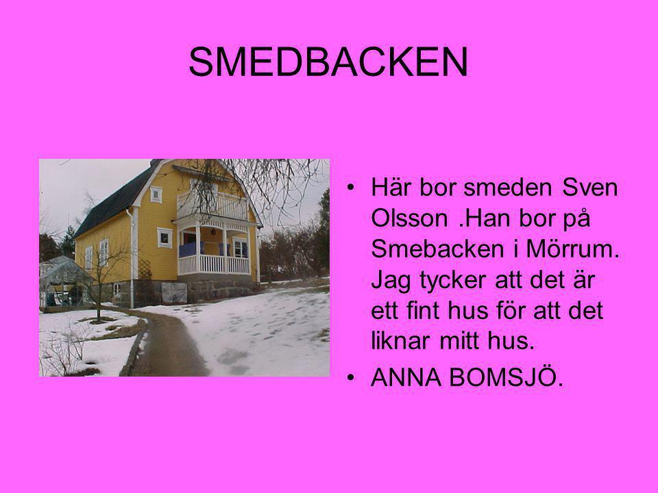 SMEDBACKEN Här bor smeden Sven Olsson .Han bor på Smebacken i Mörrum. Jag tycker att det är ett fint hus för att det liknar mitt hus.