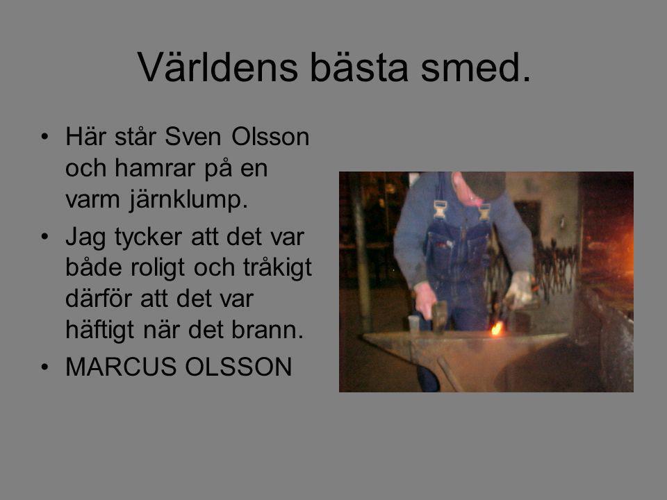 Världens bästa smed. Här står Sven Olsson och hamrar på en varm järnklump.