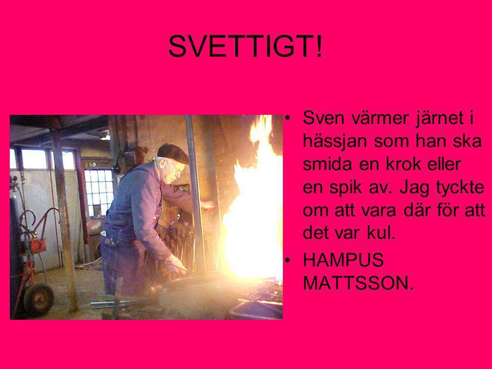SVETTIGT ! Sven värmer järnet i hässjan som han ska smida en krok eller en spik av. Jag tyckte om att vara där för att det var kul.