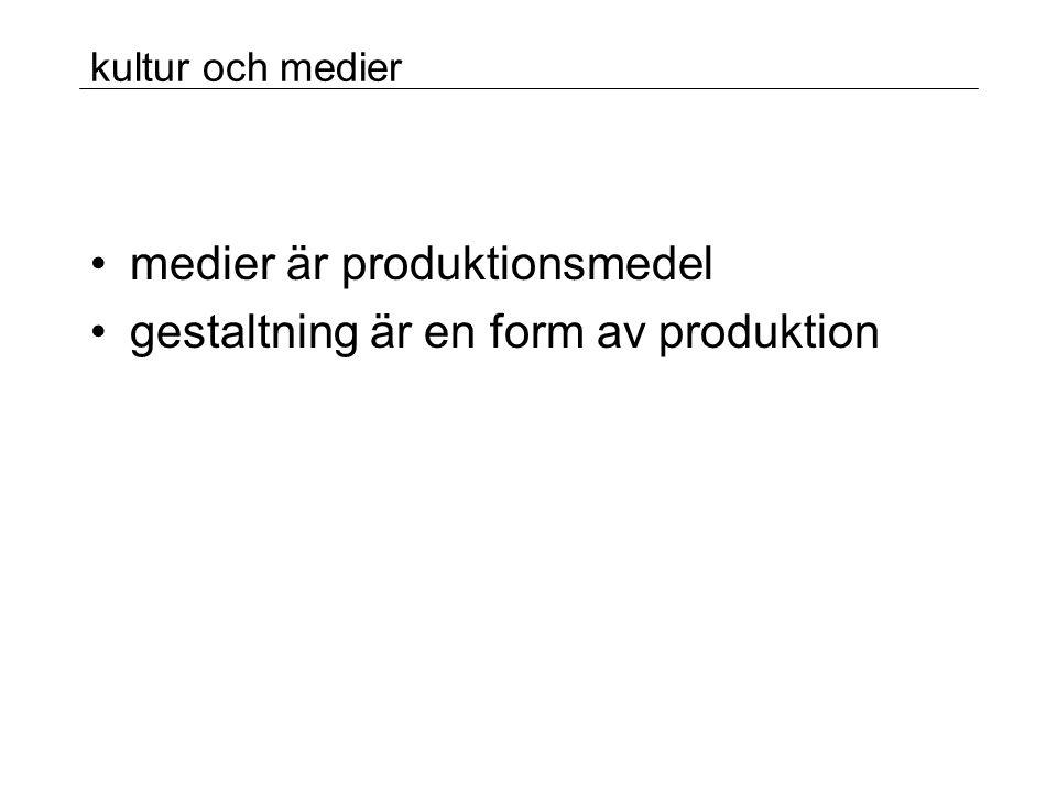 medier är produktionsmedel gestaltning är en form av produktion