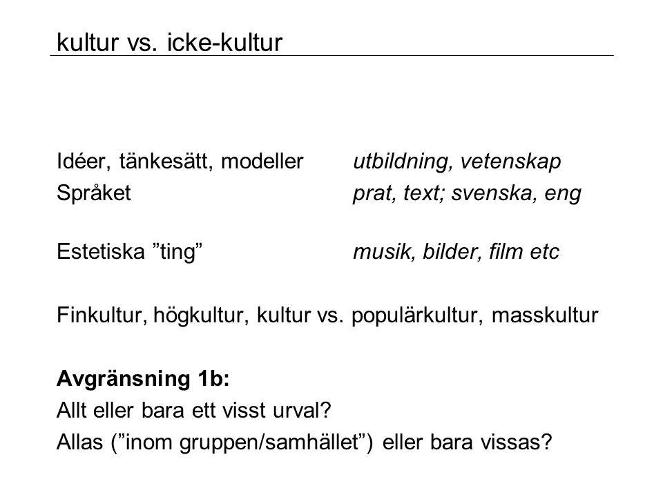 kultur vs. icke-kultur Idéer, tänkesätt, modeller utbildning, vetenskap. Språket prat, text; svenska, eng.