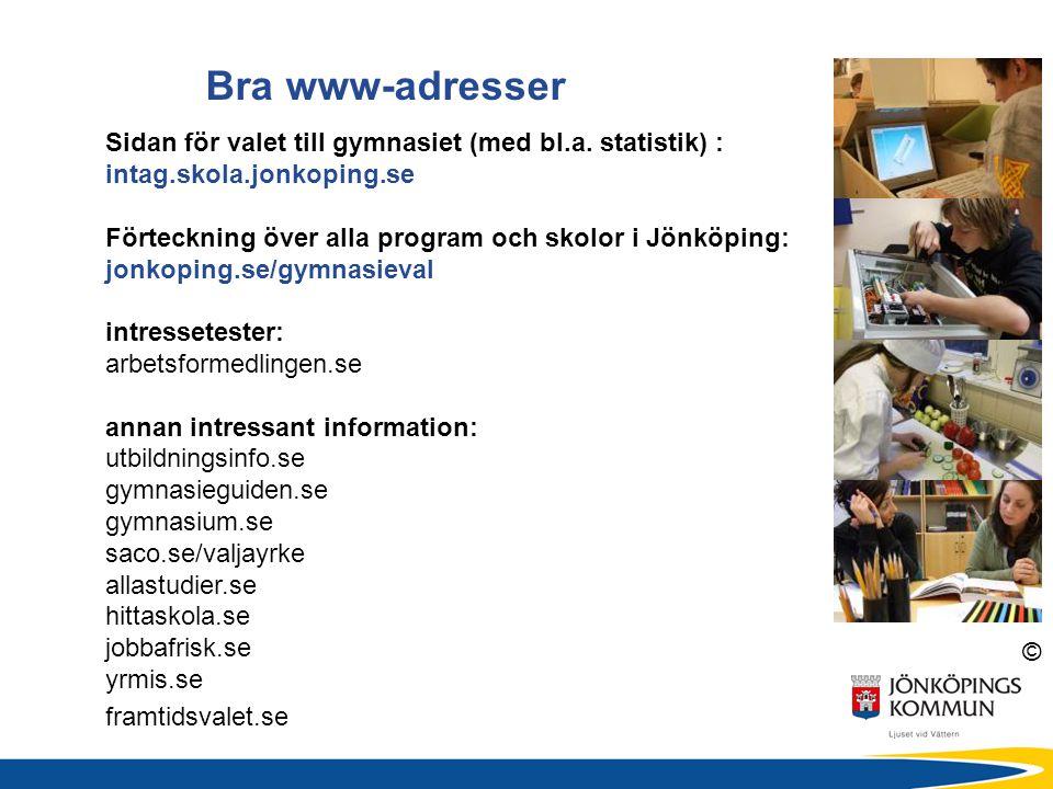 Bra www-adresser Sidan för valet till gymnasiet (med bl.a. statistik) : intag.skola.jonkoping.se.