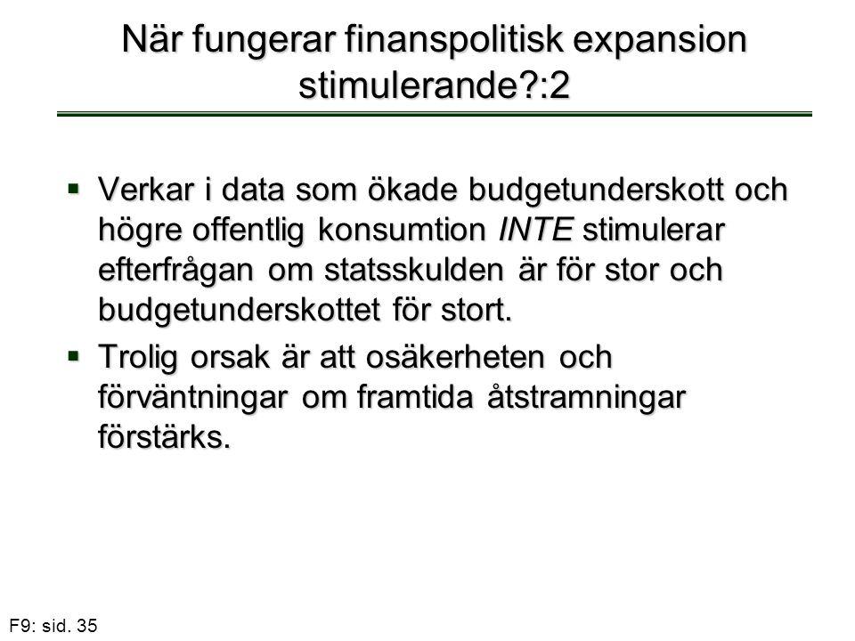 När fungerar finanspolitisk expansion stimulerande :2