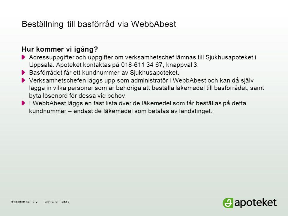 Beställning till basförråd via WebbAbest