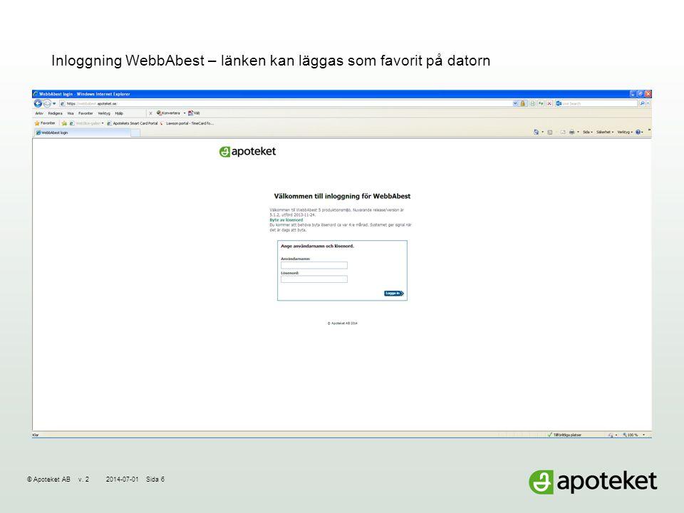 Inloggning WebbAbest – länken kan läggas som favorit på datorn