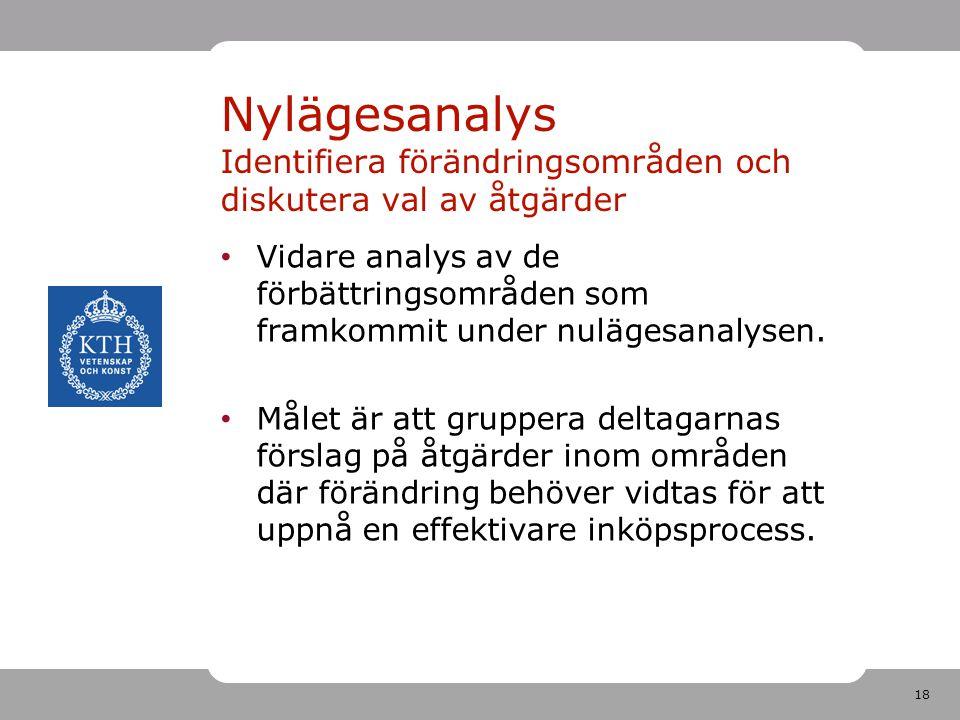 Nylägesanalys Identifiera förändringsområden och diskutera val av åtgärder