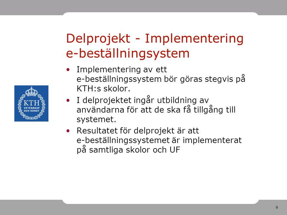 Delprojekt - Implementering e-beställningsystem