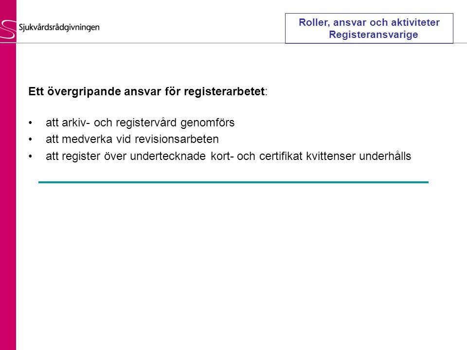 Roller, ansvar och aktiviteter Registeransvarige