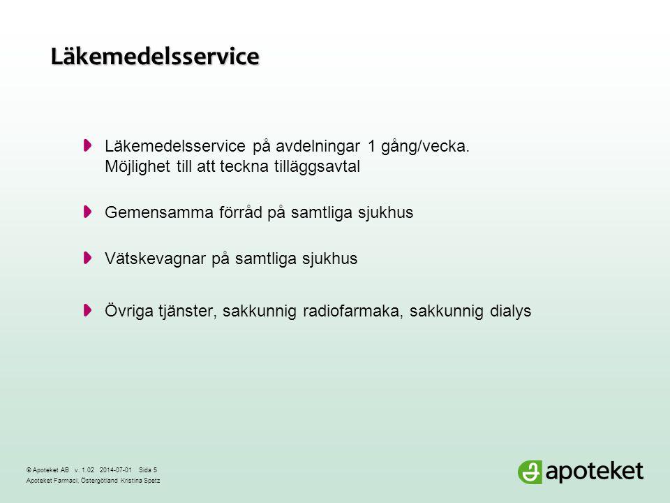 Läkemedelsservice Läkemedelsservice på avdelningar 1 gång/vecka. Möjlighet till att teckna tilläggsavtal.