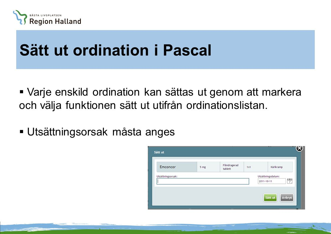 Sätt ut ordination i Pascal