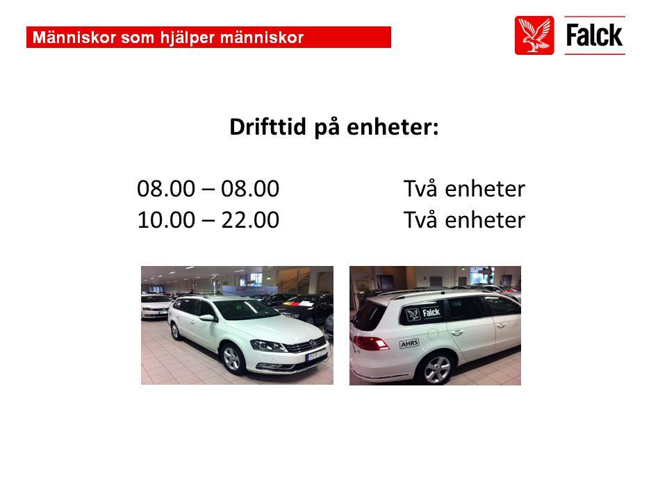 Drifttid på enheter: 08. 00 – 08. 00. Två enheter 10. 00 – 22. 00