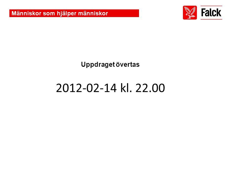 Uppdraget övertas 2012-02-14 kl. 22.00