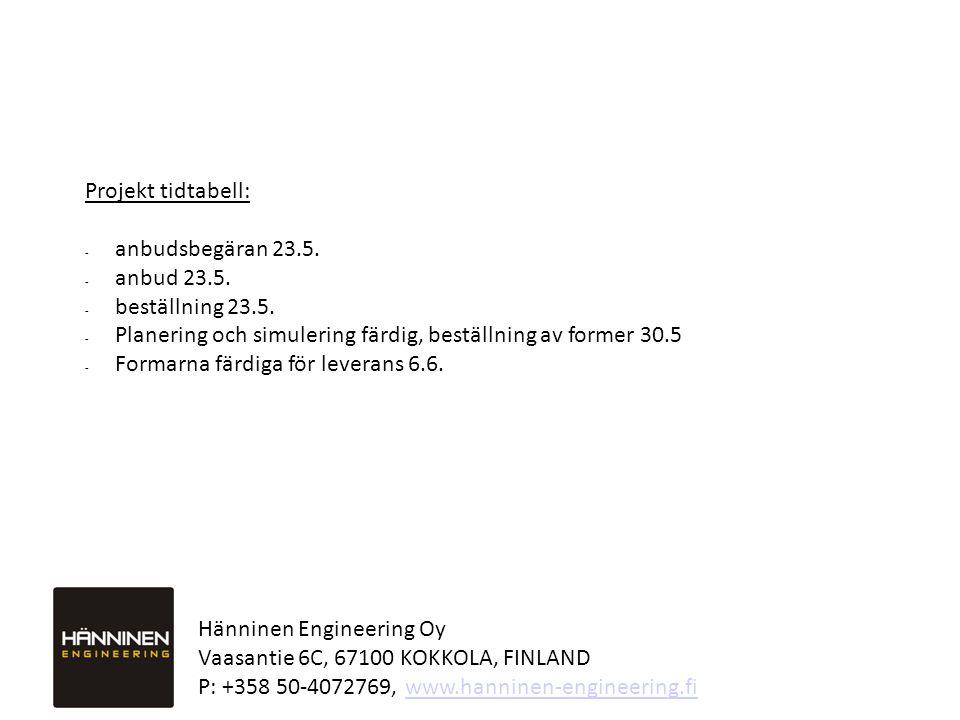 Projekt tidtabell: anbudsbegäran 23.5. anbud 23.5. beställning 23.5. Planering och simulering färdig, beställning av former 30.5.