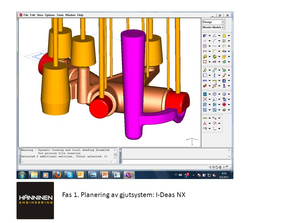 Fas 1. Planering av gjutsystem: I-Deas NX