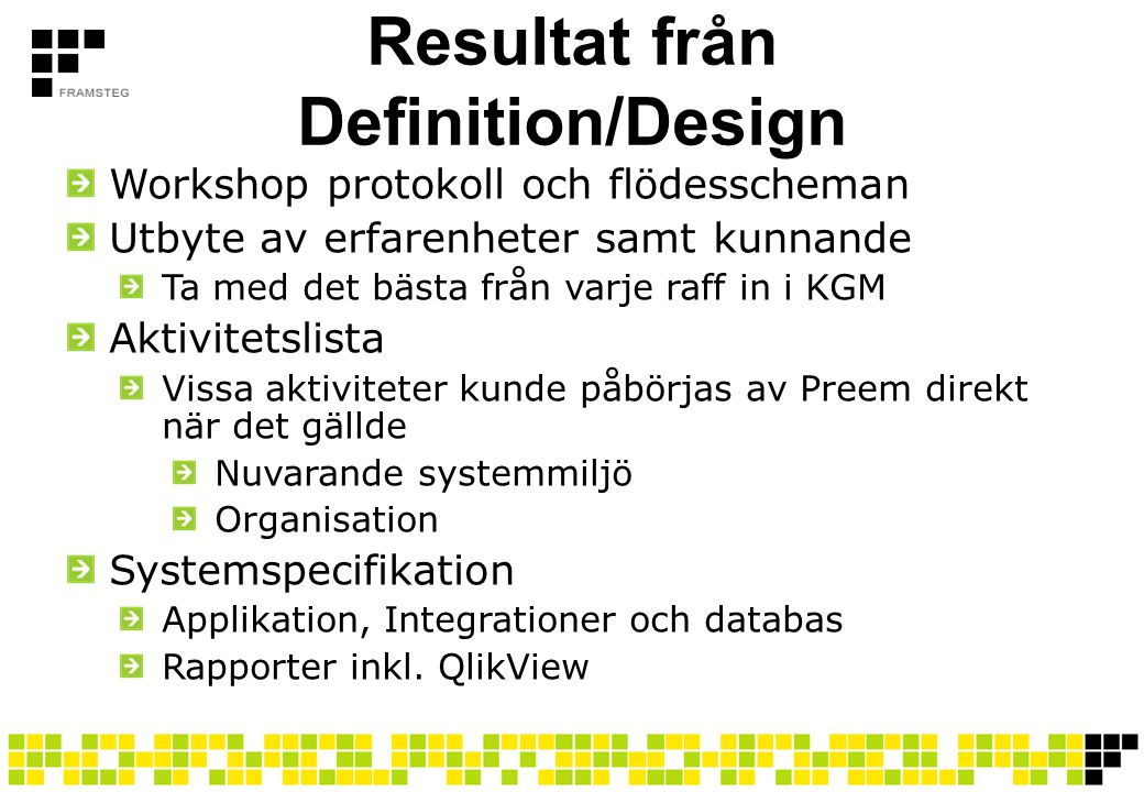 Resultat från Definition/Design