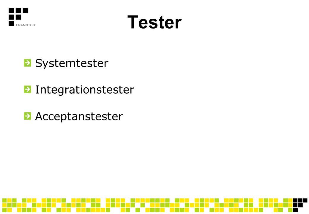 Tester Systemtester Integrationstester Acceptanstester Ver 0.2