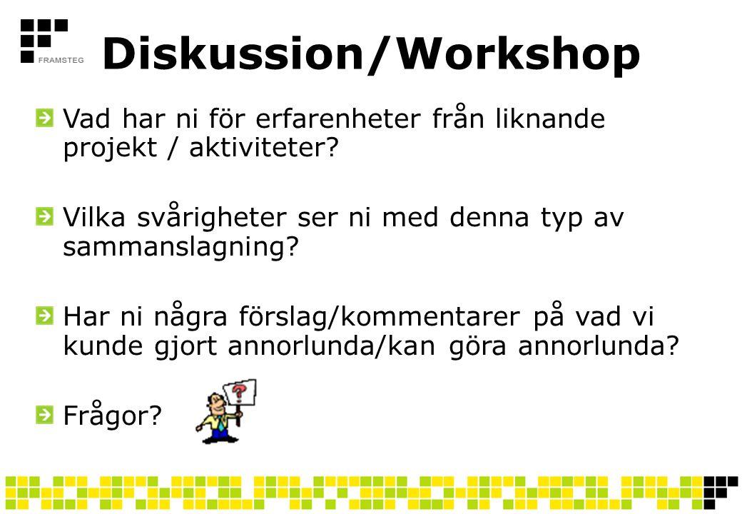 Diskussion/Workshop Vad har ni för erfarenheter från liknande projekt / aktiviteter Vilka svårigheter ser ni med denna typ av sammanslagning