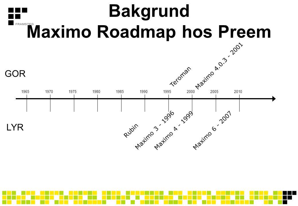 Bakgrund Maximo Roadmap hos Preem