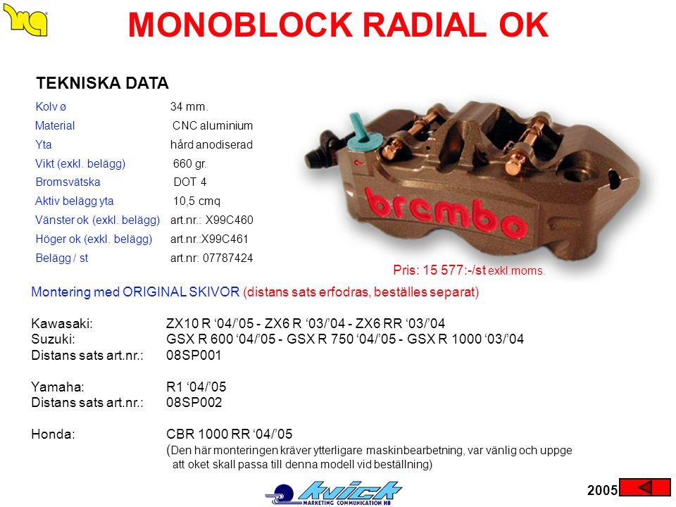 MONOBLOCK RADIAL OK TEKNISKA DATA Pris: 15 577:-/st exkl.moms.