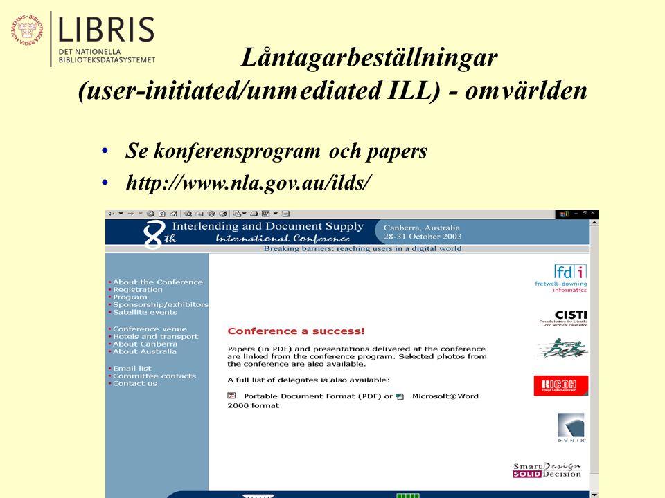 Låntagarbeställningar (user-initiated/unmediated ILL) - omvärlden