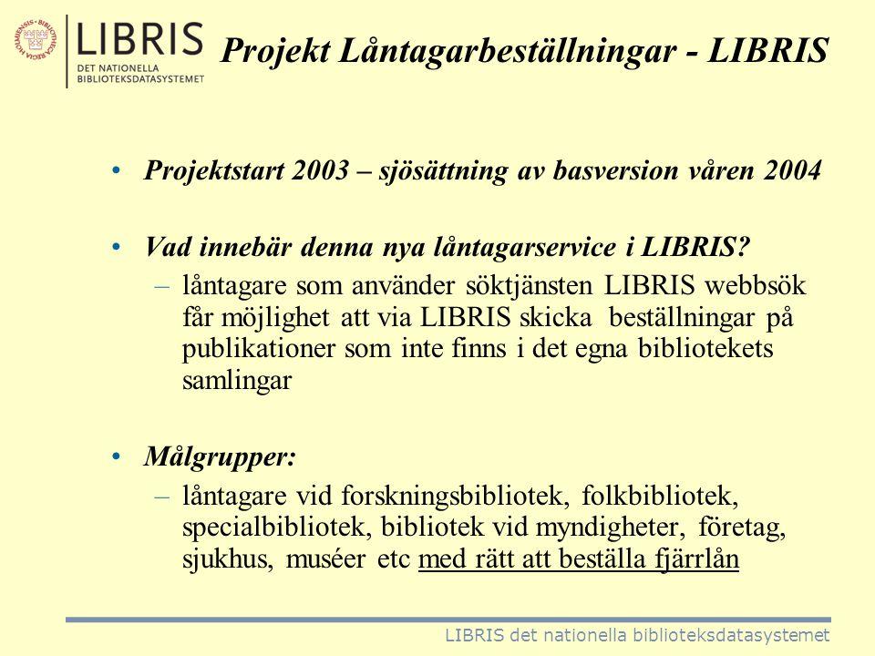 Projekt Låntagarbeställningar - LIBRIS