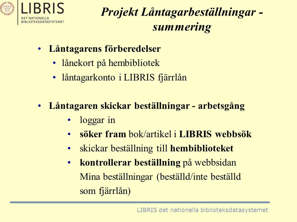 Projekt Låntagarbeställningar - summering
